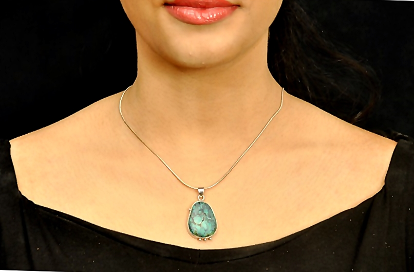 Drop Turquoise And Silver Granules