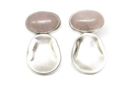 Oblong Beaten Bead With Oval Rose Quartz