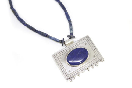 Etched Lapis Taweez with Lapis String