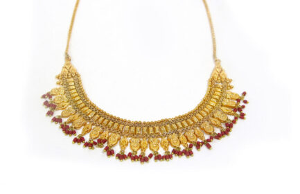 Yasmeen Double Layer Necklace With Coral Beads - Gold Plated