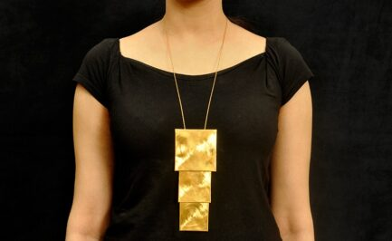 Folded Edge Gold Plated Long Chain