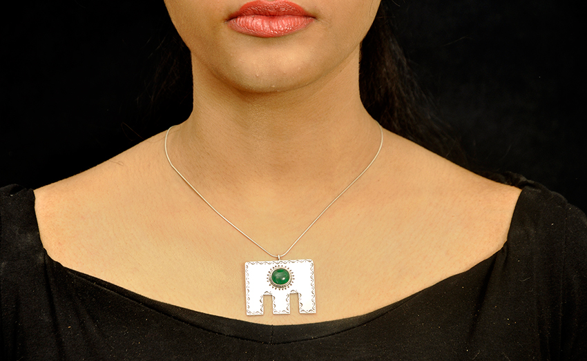 Etched Amulet With Green Onyx
