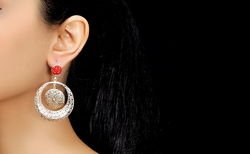 Filigree Crescent With Carved Coral