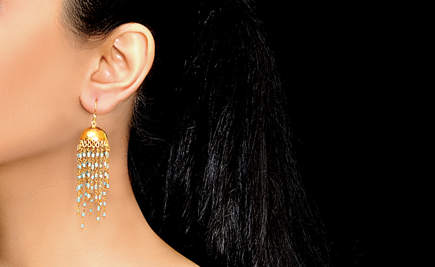Jhumka With Pearl Strings