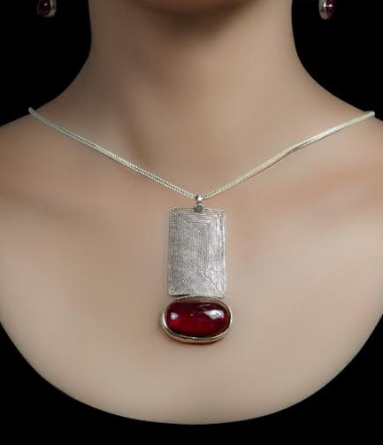 Rectangle Spiral and Red Stone Pendant