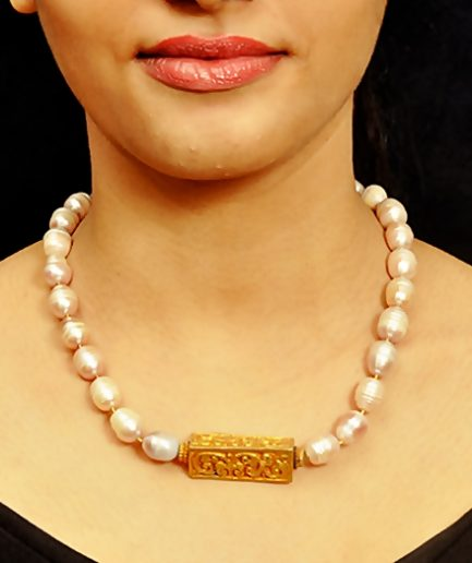 Rectangle Carved Gold Plated Bead Pearl String