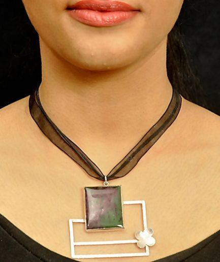 Ruby Zoisite Frame In Black Ribbon