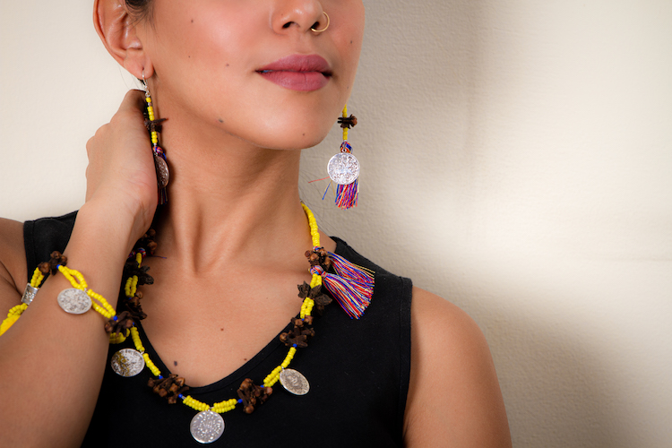 Yellow Three Coins Multicolor Tassel Necklace