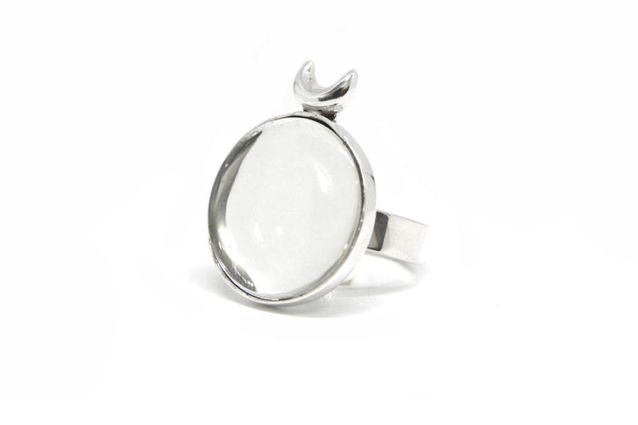 Crescent & Kundan Glass Ring