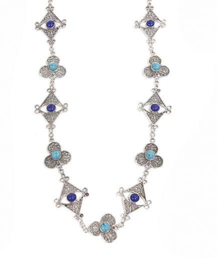 Filigree Mala With Turquoise And Lapislazuli