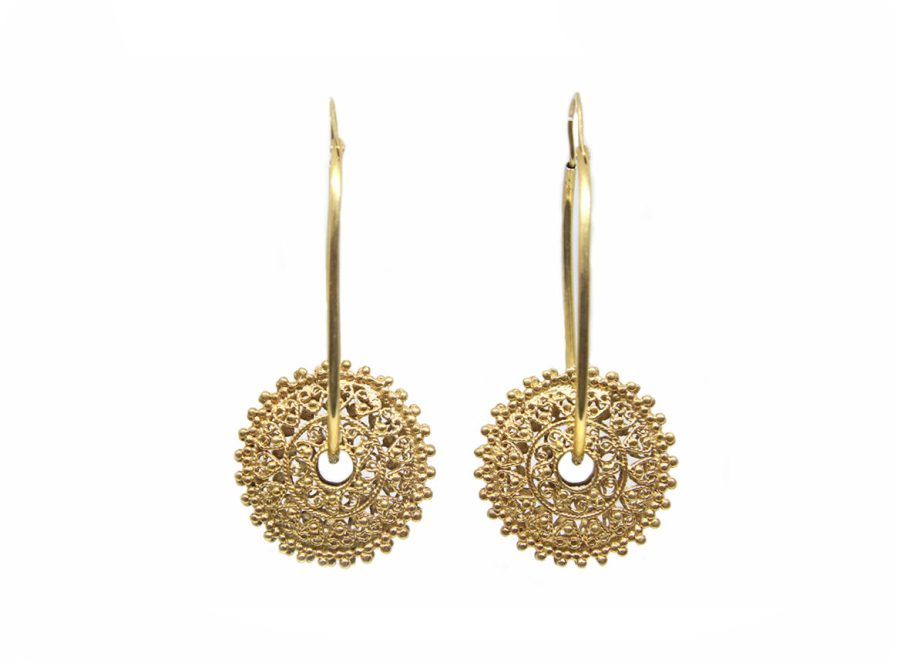 Oval Filigree Disc Hoops Gold Plated