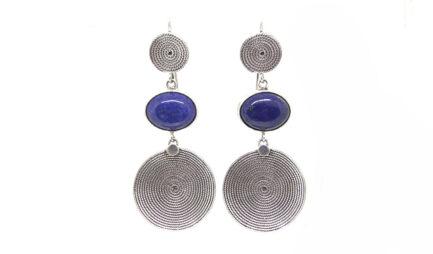 Round Spiral & Lapislazuli Earrings