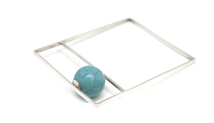 Square Box Bangle With Turquoise Bead