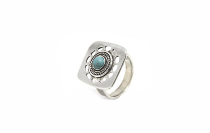 Square Cutout Ring With Turquoise