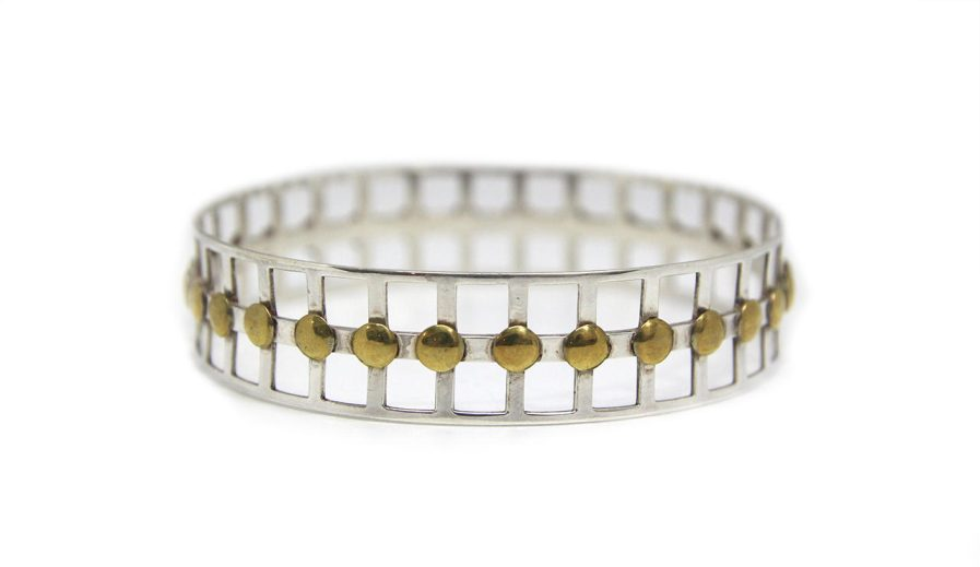 Square Cutouts and Brass Discs Bangle