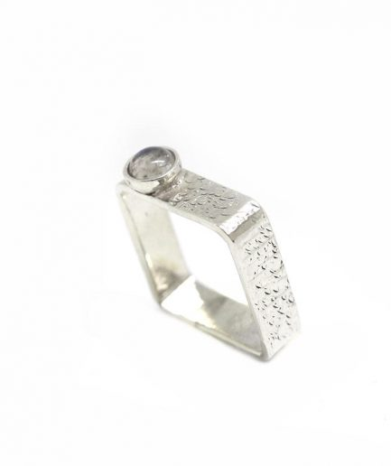 Square Ring With Stone