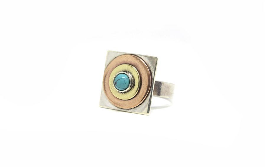 Three Metals Turquoise Ring
