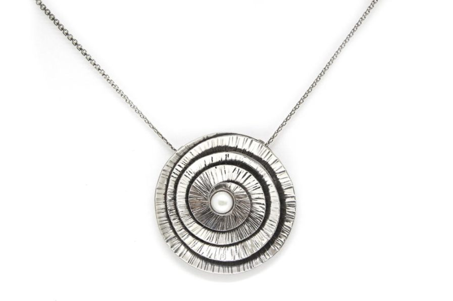 Coiled Silver and Pearl in Chain