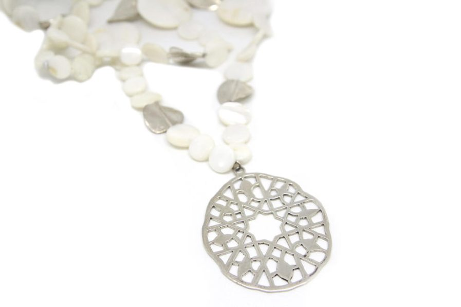 Cutout Pendant Long Mother Of Pearl String