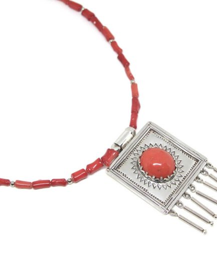 Etched Coral Taweez with Coral Bead String