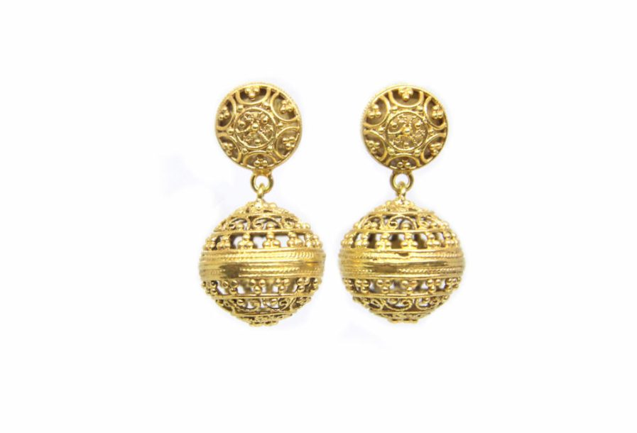 Filigree Ball Tops Gold Plated