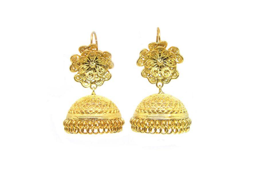 Filigree Flower Jhumka (Gold plated)