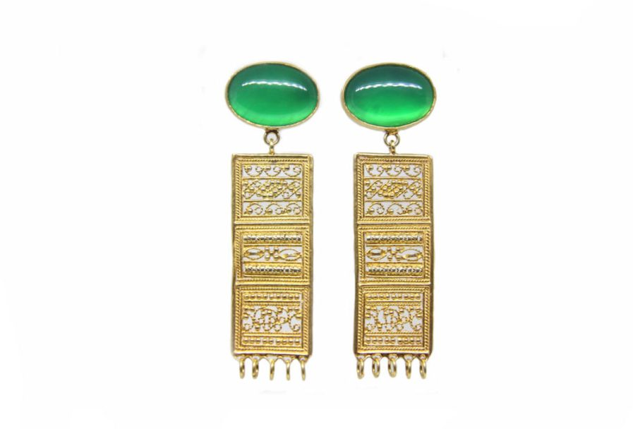 Flat Filigree Danglers with Green Onyx