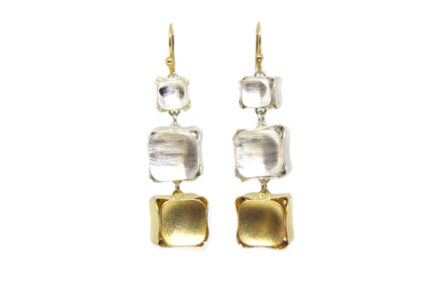 Gold and Silver Cubes Earrings