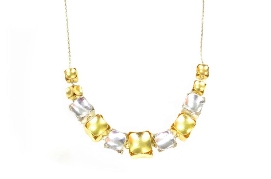 Gold And Silver Cubes Necklace