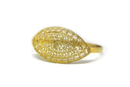 Gold Filigree Leaf Bangle