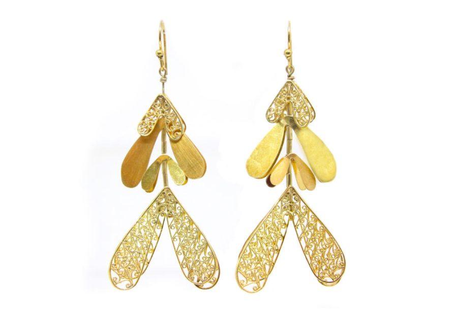 Golden Petals Danglers with Filigree