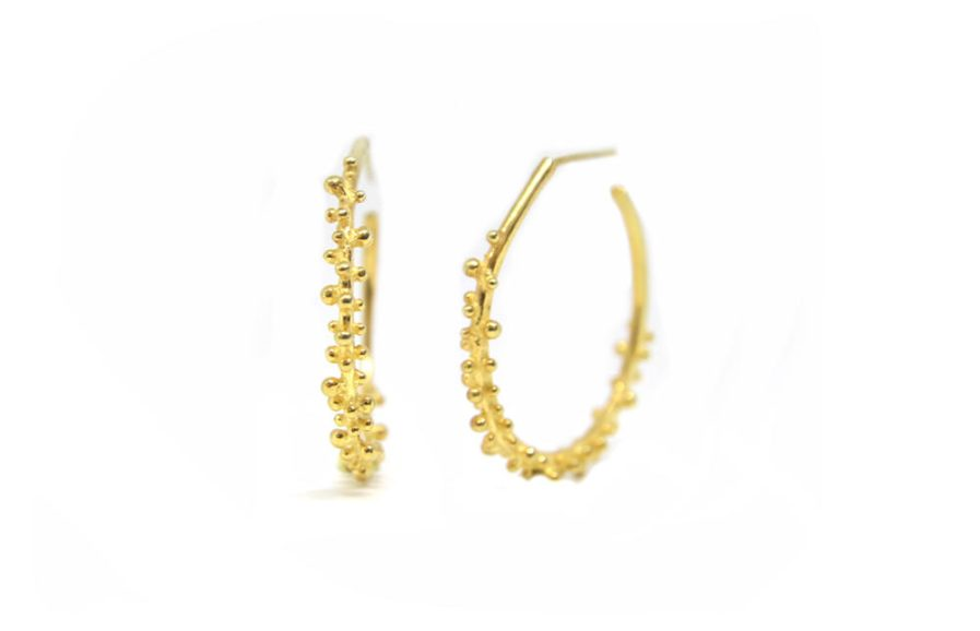 Granulation Open Hoops (Gold plated)