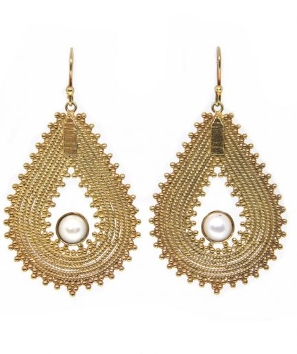 Granulation Petal with Pearls (Gold plated)