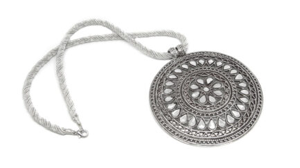 Kundan Petals Medallion with Silver String