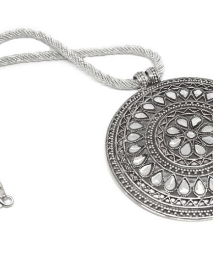 Kundan Petals Medallion with Silver String