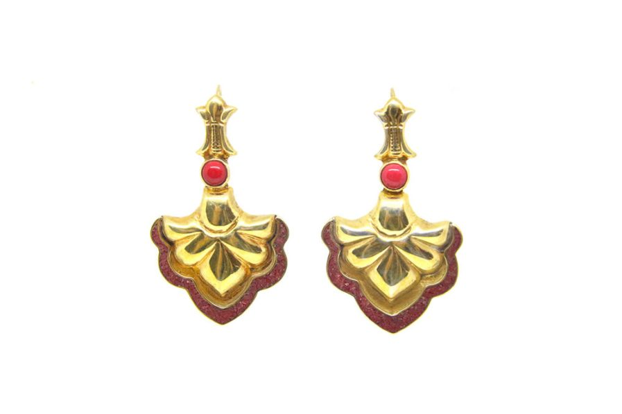 Lahore Gold with Coral Earrings