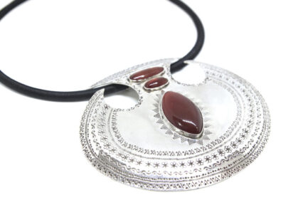 Large Etched Three Carnelian Taweez Necklace