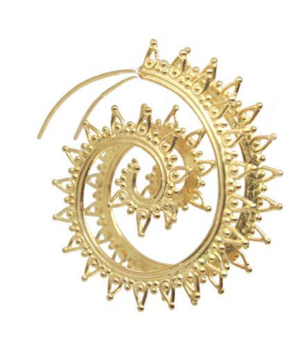 Petals Filigree Spiral hoop (gold plated)