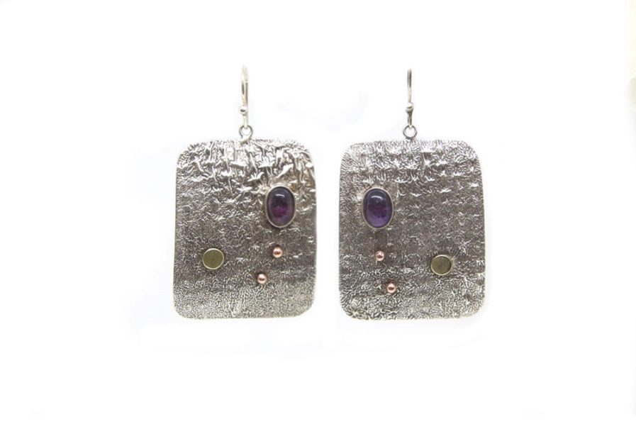 Reticulated Rectangle with Amethyst Danglers