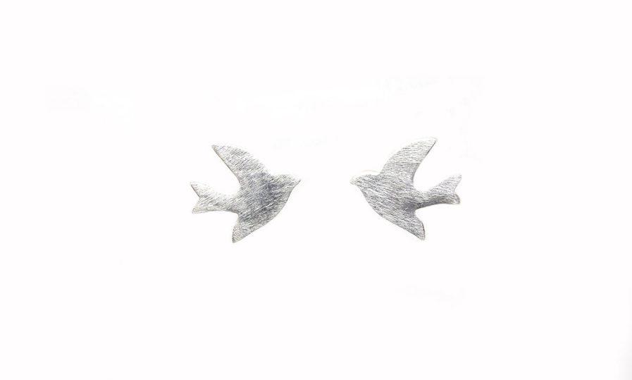 Silver  Bird Studs