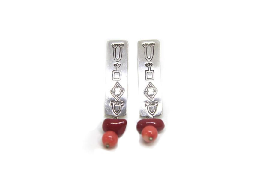 Silver etched dangling beads Earrings