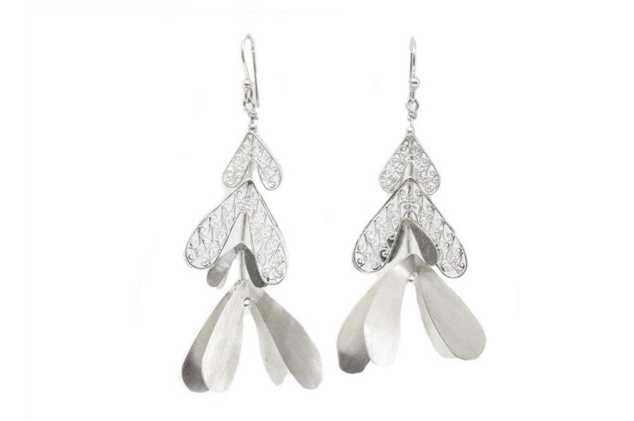 Silver Petals Danglers with Filigree