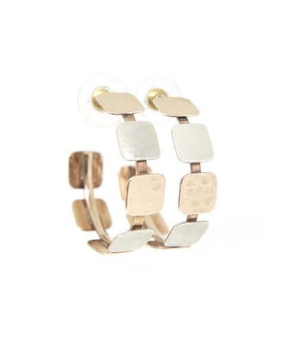 Textured Squares with Rose Gold Hoops