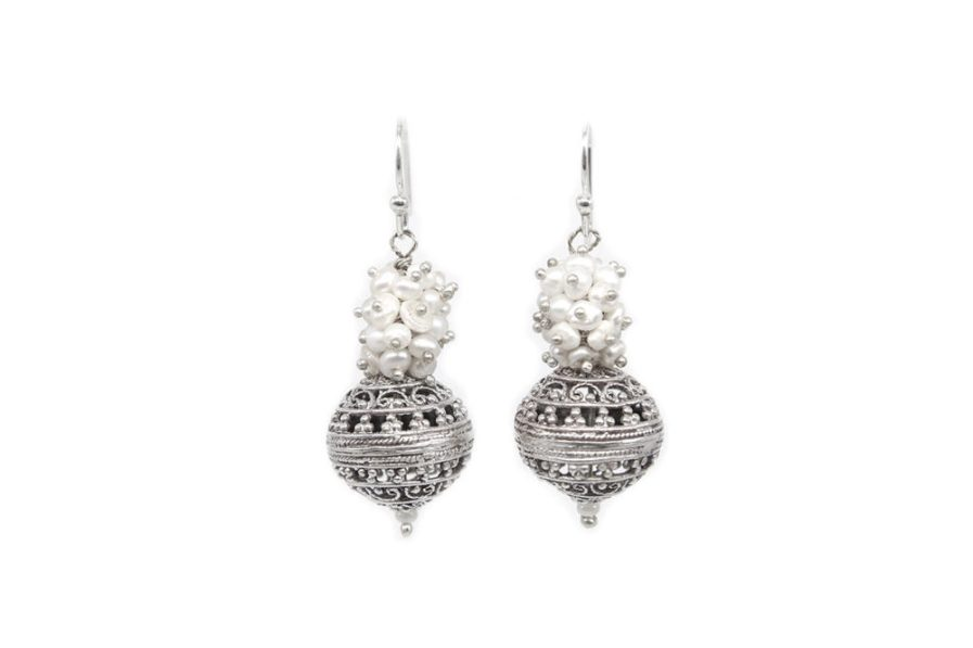 Clustered pearls and filigree ball