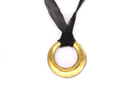 Convex Hoop with Gold Leaf Filling Necklace