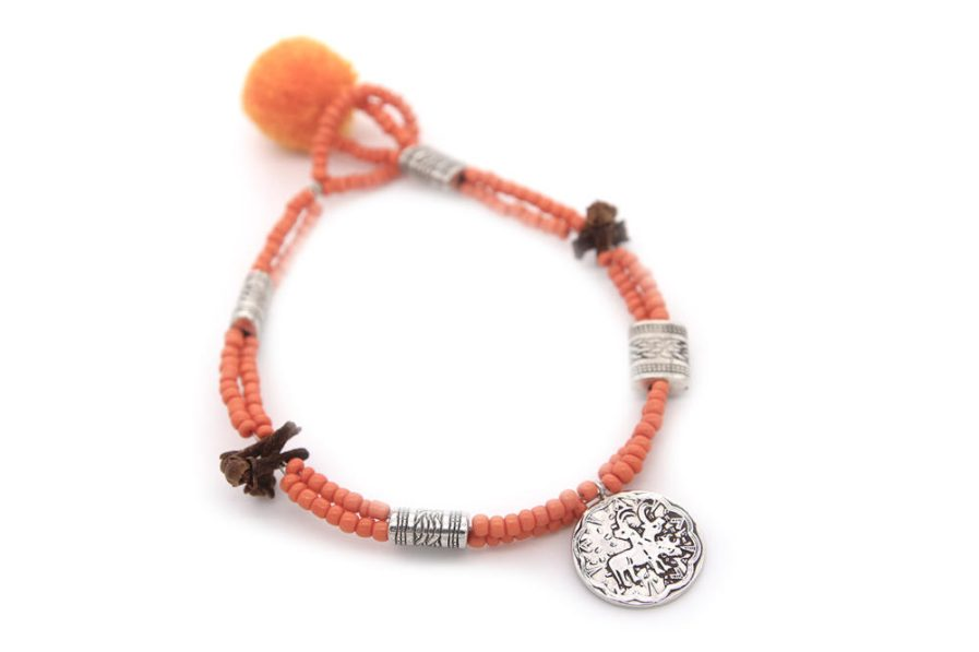 Double String Bracelet With Orange Beads