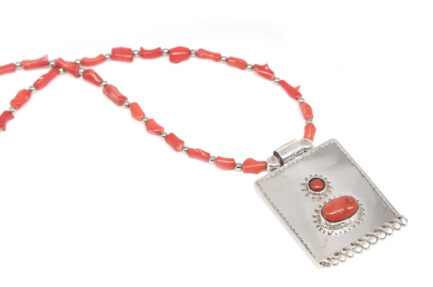 Etched Coral Taweez 2 with Coral Bead String