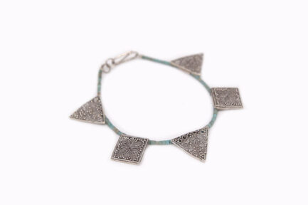 Filigree Discs With Turquoise Beads Bracelet