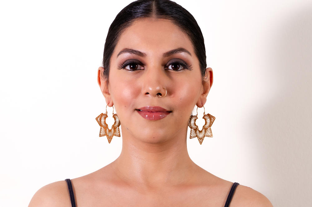 Filigree Flower Hoops Gold Plated