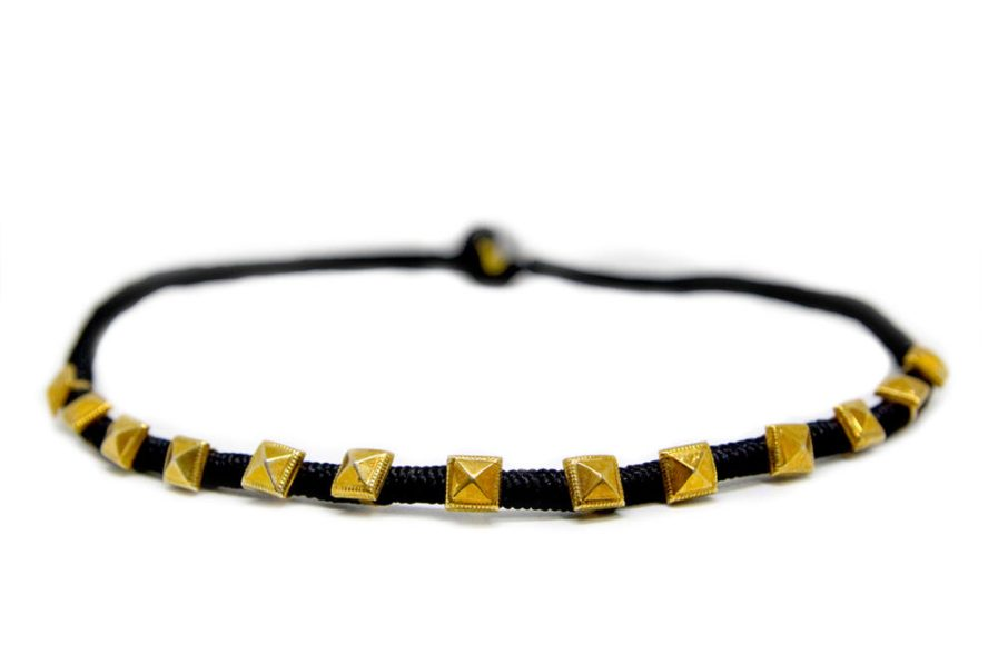 Gold Plated Squares in Black String